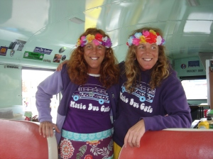 Our hostesses, the Twin Hot Dog Hippy Fairies: Chrissy and Cathy